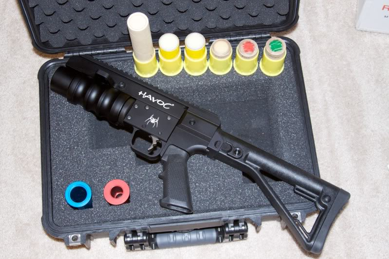 WTT Spikes 37mm HAVOC launcher with KAOS side folding stock, ammo