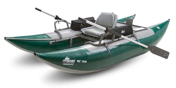 Outcast fishing pontoon 1 man 500 lb capacity the for Fishing pontoon boat reviews